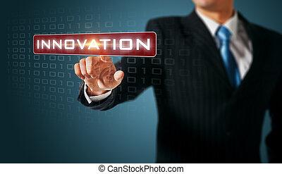 écran, pousser, innovation, interface., toucher, homme