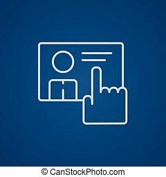 écran, pousser, main, bouton, toucher, ligne, icon.
