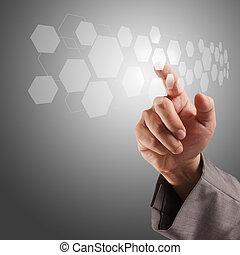 écran, pousser, virtuel, main, toucher, interface