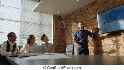 écran, présentation, donner, cadre, 4k
