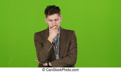 écran, problems., regarder, vert, solutions, affaires, homme affaires, reflète