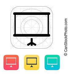 écran, projecteur, icon.