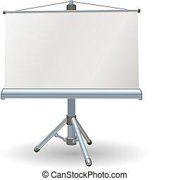 écran projecteur, vide, présentation, ou, rouleau
