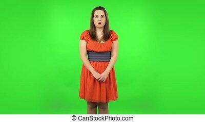écran, proverbe, shocked., vert, être, girl, mon, effrayé, ...
