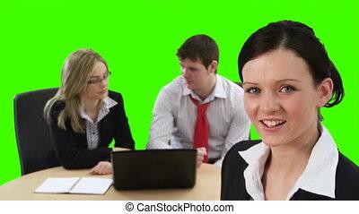 écran, réunion, business, vert