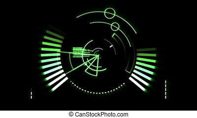 écran, radar, vert