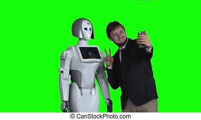 écran, robot, selfie., vert, prendre, type, photographié