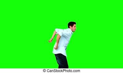 écran, sauter, vert, jeune homme