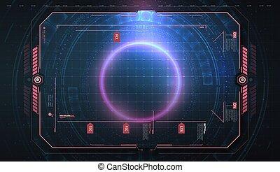 écran, sci, vecteur, contrôle, ui, hud, panneau, design., virtuel, gui, futuriste, illustration, technologie, utilisateur, elements., fi, interface, résumé, cadre, disposition