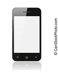 écran, smartphone, fond blanc, vide