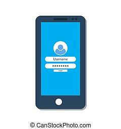 écran, smartphone, login, formulaire
