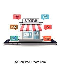 écran, smartphone, magasin, ligne