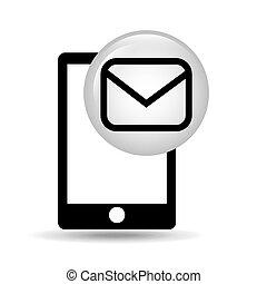 écran, smartphone, message, email