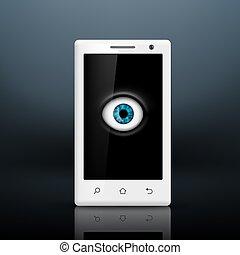écran, smartphone, oeil, ton