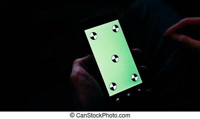 écran, smartphone, vert, homme