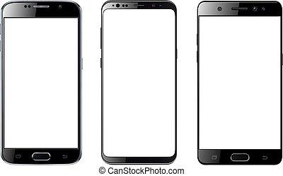 écran, smartphones, isolé, vide