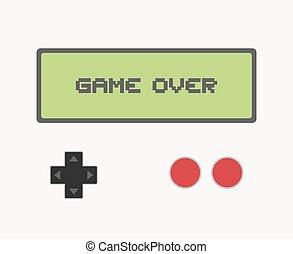 écran, sur, message, jeu, retro
