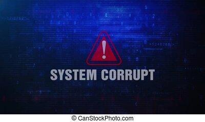 écran, système, clignotant, alerte, avertissement, erreur, corrompu, message