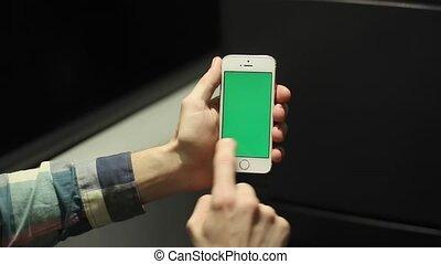 écran, téléphone, train, vert, utilisation, intelligent, homme