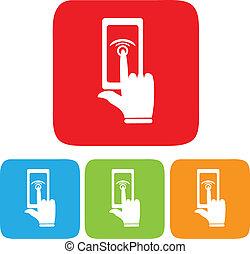 écran tactile, icône