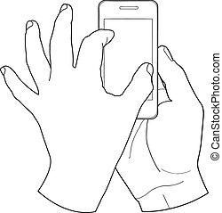 écran tactile, main