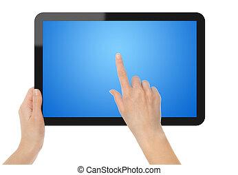 écran tactile, tenue, tablette