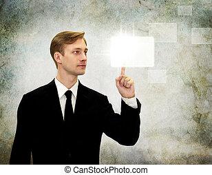 écran tactile, urgent, homme affaires