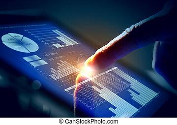 écran, toucher, closeup, doigt, tablet-pc