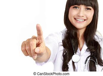écran, toucher, jeune docteur