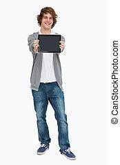 écran, toucher, projection, etudiant mâle, tampon