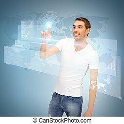 écran, toucher, virtuel, homme