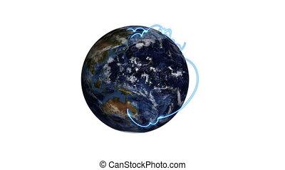 écran, travers, passes, la terre