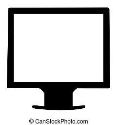 écran tv, blanc, lcd, moniteur