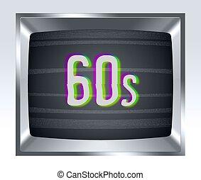 écran tv, bruit, vieux, 60s