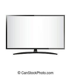 écran, tv, plat, lcd, réaliste, plasma, illustration.