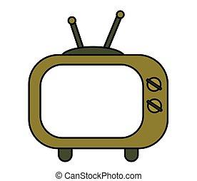 écran, tv., vieux, object., vide