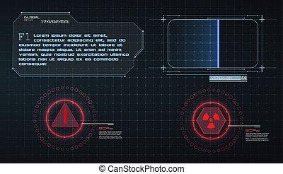 écran, vecteur, vidéo, élevé, design., virtuel, sci-fi, futuriste, frame., display., éléments, illustration, technologie, utilisateur, balayage, avenir, set., interface, game., avertissement, hud, ui, concept, gui