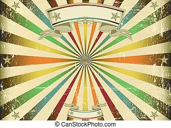 écran, vendange, multicolore