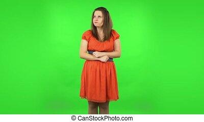 écran, vert, anger., irritation, girl, faire gestes, mignon, exprimer