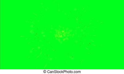 écran, vert, explosions, espace