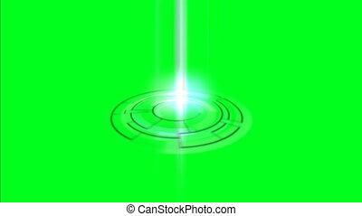 écran, vert, hologramme, circulaire
