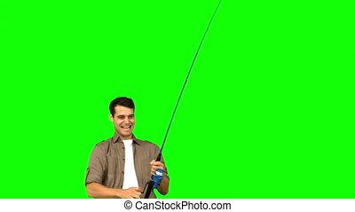 écran, vert, peche, homme