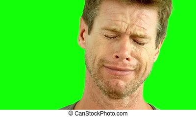 écran, vert, pleurer, homme