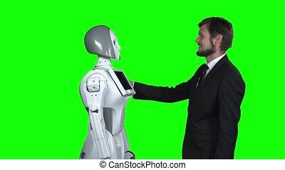 écran, vert, robot, étreindre, homme