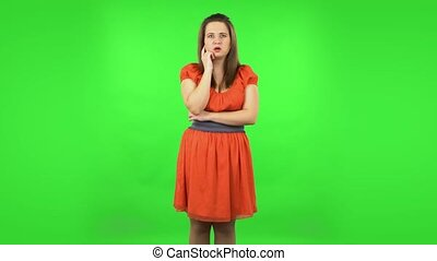 écran, vert, très, choqué, girl, mignon, information, alors...
