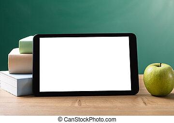 écran, vide, blanc, tablette, numérique