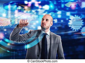 écran, virtuel, business, système