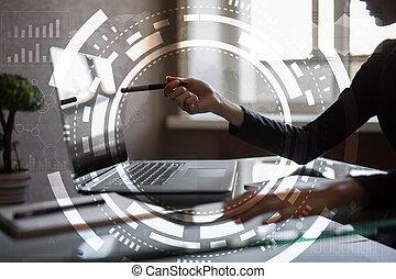 écran, virtuel, business, technologie internet, concept.