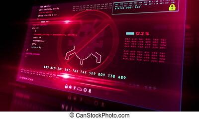 écran, virus, detected, alerte