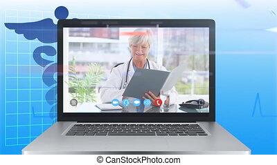 écran visuel, animation, femme, projection, pendant, call., docteur, ordinateur portable